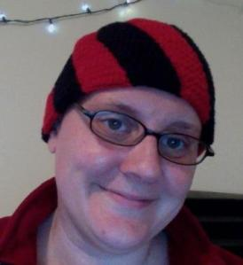 Red and Black Swirl Hat