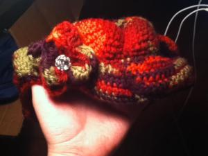 Multi colored visor hat with flower