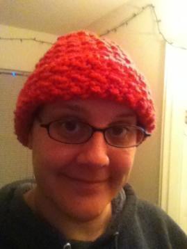 Pink winter bobble hat
