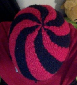 Top of Red and Black Swirl Hat
