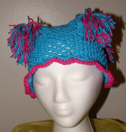 Blue pom pom hat (small) $15