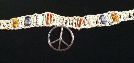 Necklace with Beer Bottle Beads and Peace Sign