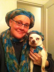 Dog and Owner matching Hat and Scarf