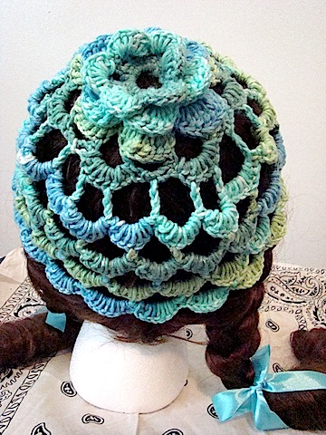 Back of blue/green FlowerTop Hat