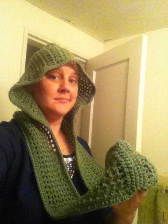 Green Spring Scoodie with connected scarf