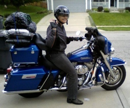 Jackie and her Harley called Blue getting ready to hit the road