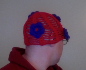 Side 1 of Red Hat with Purple Flowers