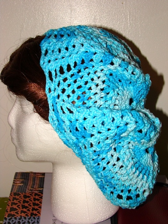 side view of blue Pineapple Baggie Beanie