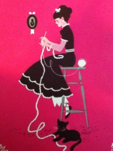 lady on stool crocheting with cat below from a booklet on Edgings from 1941