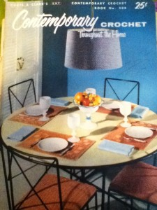Crochet items in a dinette on the cover of Contemporary Crochet