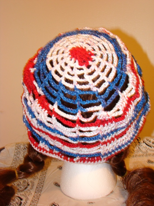 back of red, white and blue USA sun hat
