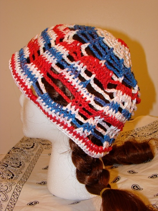 side of red, white and blue USA sun hat