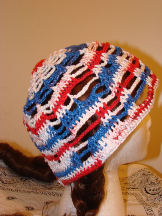 other side of red, white an blue USA sun hat