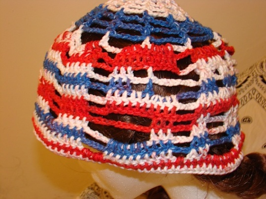close-up of red, white and blue USA sun hat side so you can see the letters U, S and A