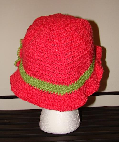 back of pink floppy sun hat