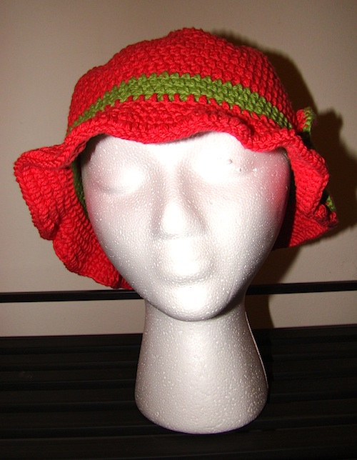 front view of pink floppy sun hat
