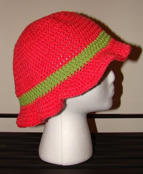 side of pink floppy sun hat