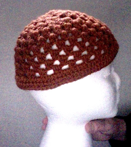 other side of orange meditation hat