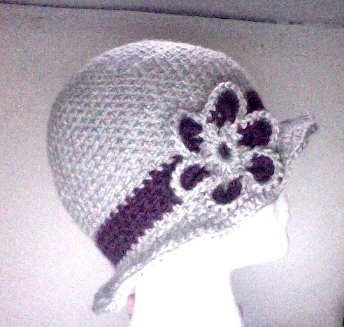 side view of gray and purple hat when worn over the ears
