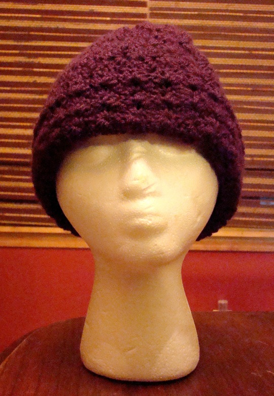 Front View of a Purple winter crochet hat