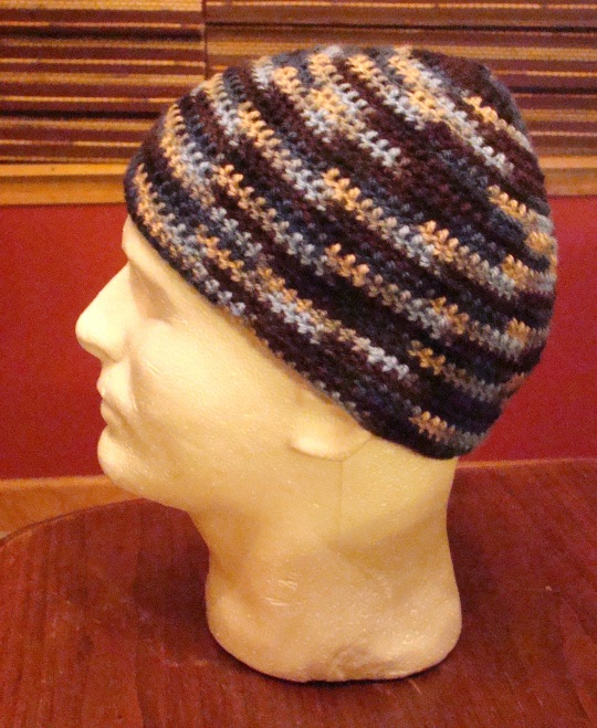 Side view of blue/brown beanie