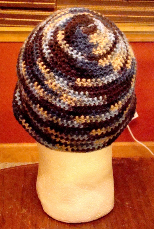 Back view of blue/brown beanie