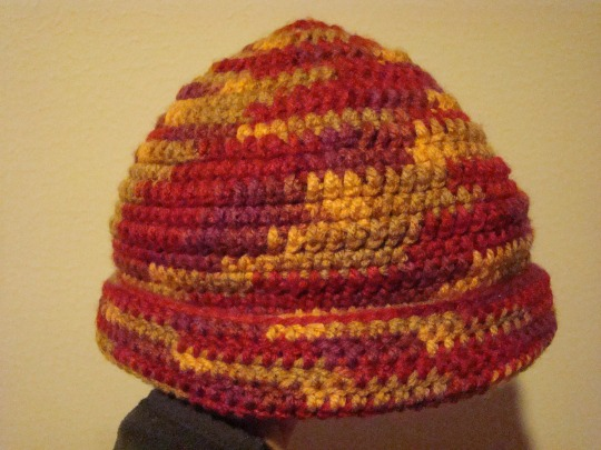 Red, yellow, tan hat, adult size, acrylic