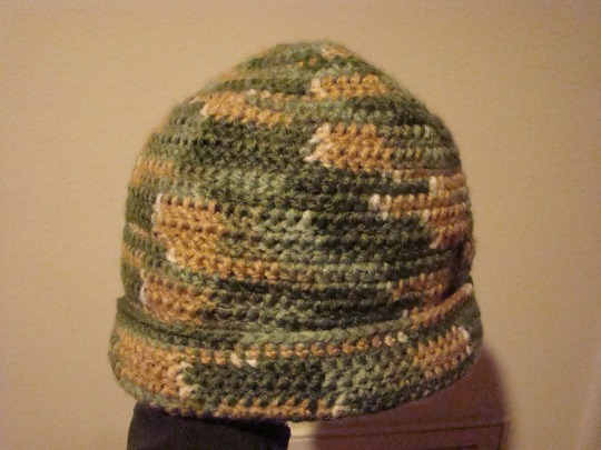 green, brown, white acrylic hat. adult size