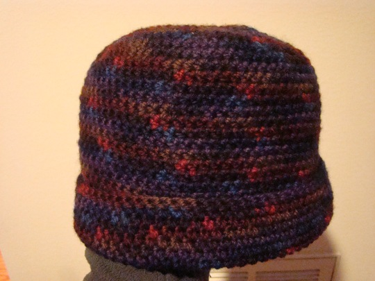 Purple, blue, brown wool hat.  adult size